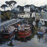 Susan Isaac - Harbour Wall and Chapel Hill, Polperro