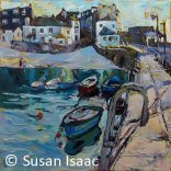 Susan Isaac - Evening Light on Smeaton's Pier, St Ives - Cornish painting