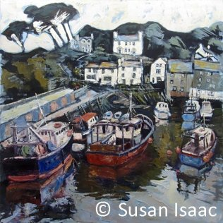 Susan Isaac - Harbour Wall and Chapel, Polperro