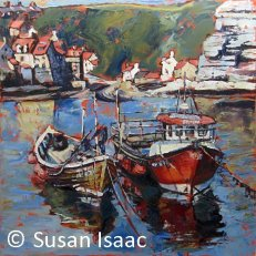Susan Isaac - Staithes Harbour looking towards the Beck
