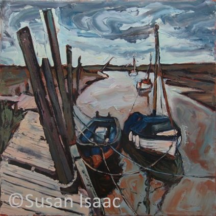 Susan Isaac - Moored Boats at Blakeney