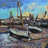 Susan Isaac - Boats at St Ives - Cornish painting