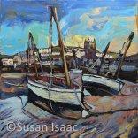 Susan Isaac - Boats at Low Tide, St Ives - Cornish painting