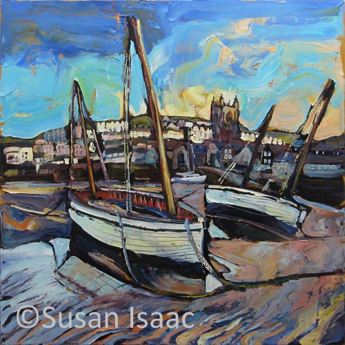 Susan Isaac - Boats at Low Tide, St Ives - Cornish painting