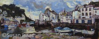 Susan Isaac - Fish Quay & Harbour, Polperro - Cornish painting