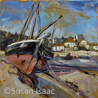 Susan Isaac - Low Tide at Harbour Beach, St Ives - Cornish painting