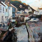 Susan Isaac - Polperro Harbour from Roman Bridge - Cornish painting