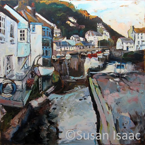 Susan Isaac - Polperro Harbour from Roman Bridge - Cornish painting