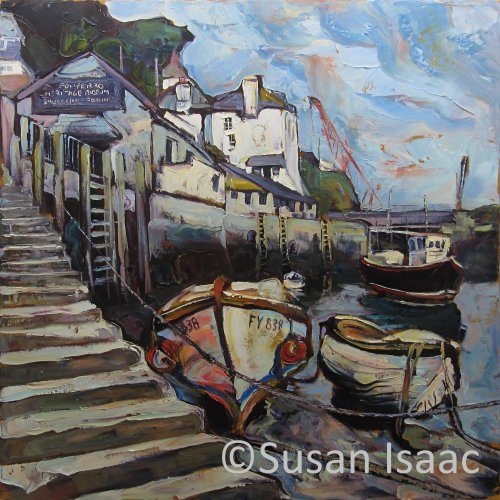 Susan Isaac - Slipway & Museum at Polperro - - Cornish painting
