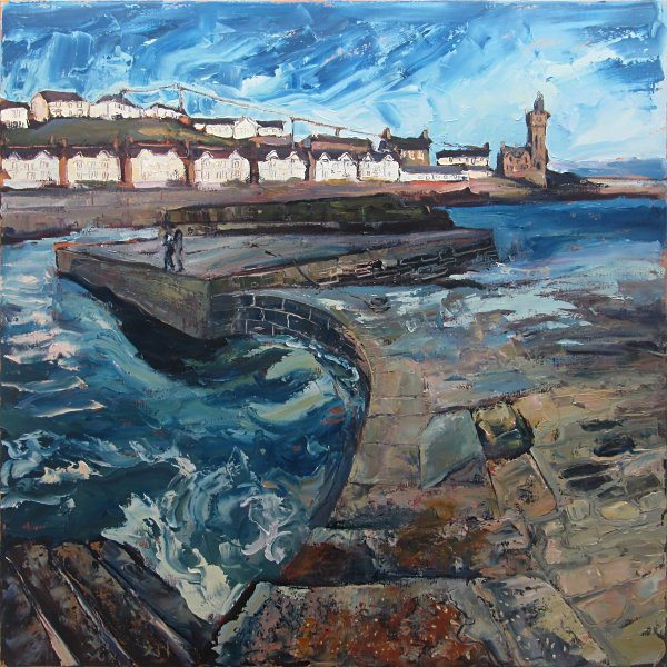 Susan Isaac - Rolling Waters at the Quayside, Porthleven