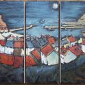Susan Isaac - Staithes and Harbour at Night (2009)