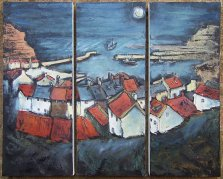 301 Susan Isaac - Staithes and Harbour at Night (2009) Sv108016a