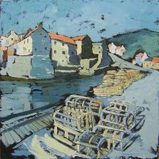 343 Susan Isaac - Lobster Pots on Staithes Quay (2009) Sv103136