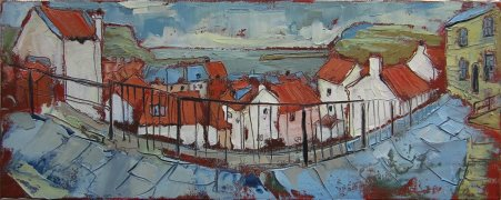 Susan Isaac - Staithes Rooftops from Mount Pleasant