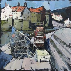 445 Susan Isaac - Lobster Pots on Staithes Quay (2011) IMG_0952