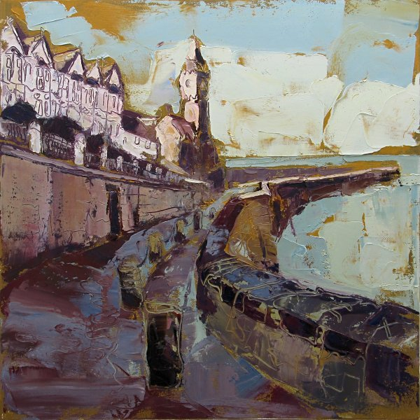 Susan Isaac - The Harbour Road to the Pier Porthleven