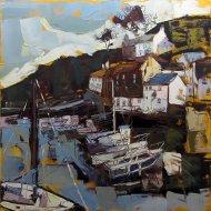 Susan Isaac - The Harbour at Polperro below Chapel Hill