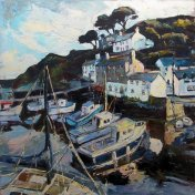 Susan Isaac - The Harbour at Polperro below Chapel Hill