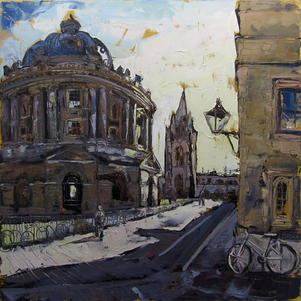 Susan Isaac - The Radcliffe & St Mary's Church from the corner of Brasenose Oxford (2013)