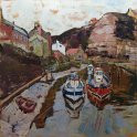 Susan Isaac - Staithes Beck and Cowbar Lane from the Footbridge (2013)