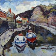 Susan Isaac - Staithes Beck & Cowbar Lane from the Footbridge