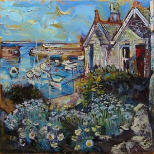 Susan Isaac - Mousehole Harbour from above the Wharf