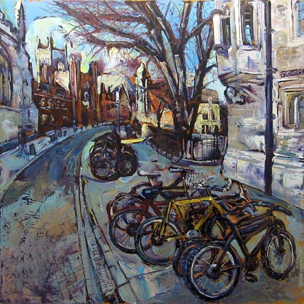 Susan Isaac - Bicycles outside St Johns Cambridge (2015)