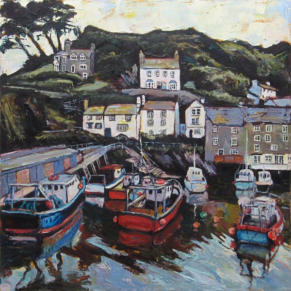 Susan Isaac - Harbour Wall and Chapel Hill Polperro