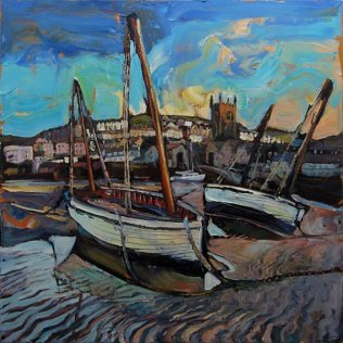 Susan Isaac - Boats at Low Tide St Ives