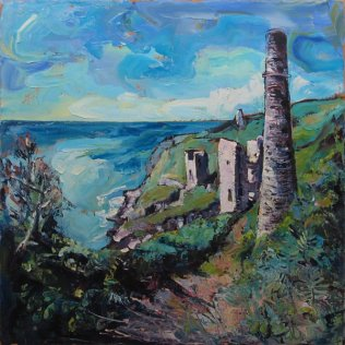 Susan Isaac - Engine Houses at Trewavas Mine near Porthleven