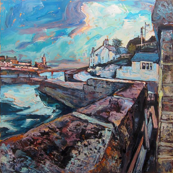 Susan Isaac - Harbour Wall and The Ship Inn Porthleven