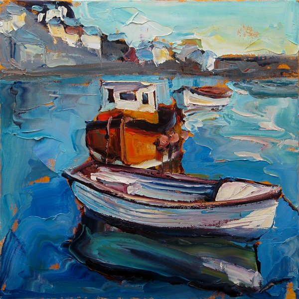 Susan Isaac - Boats at Harbour Beach St Ives