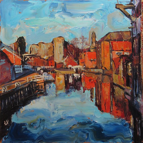 Susan Isaac - The River from Mill Lane Bridge Newark-on-Trent