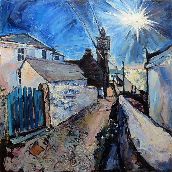 Susan Isaac - Evening Sun on Institute Hill Porthleven