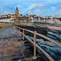 Susan Isaac - Evening Light Porthleven Pier (2017)