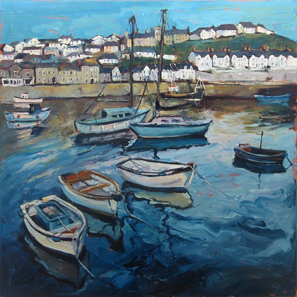 Susan Isaac - Moored Boats in the Inner Harbour Porthleven