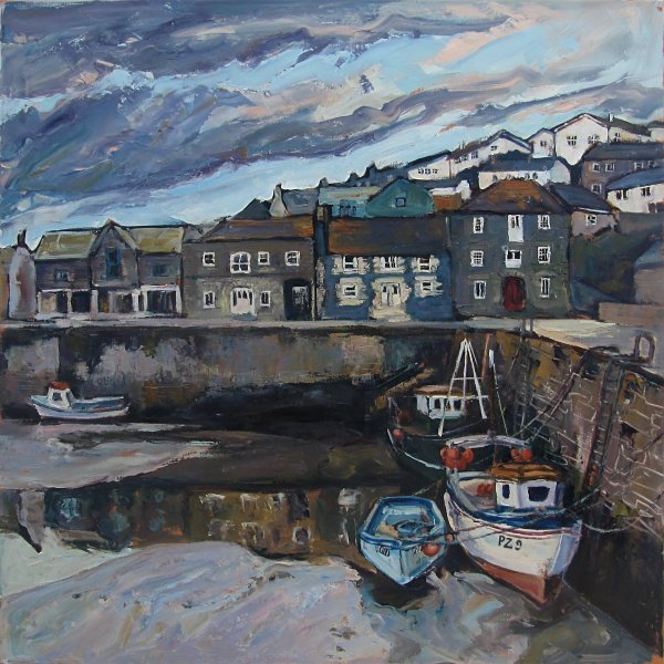 Susan Isaac - Low Tide across the Inner Harbour Porthleven