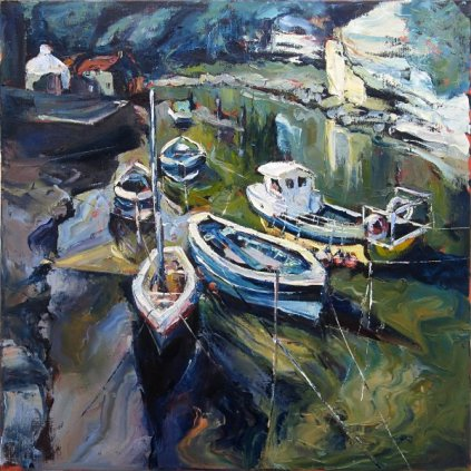 Susan Isaac - Boats on the Beck at Staithes