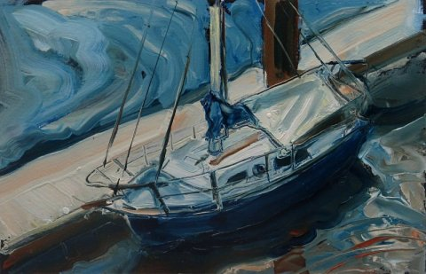 Susan Isaac - Boat in Whitby Harbour (2018)