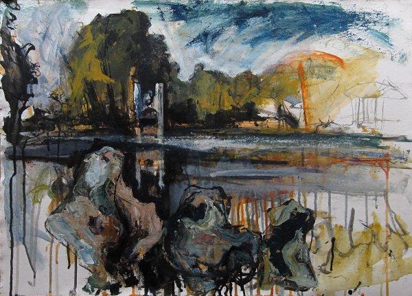Susan Isaac - Landscape with Monolithic Flint Nodules (West Wycombe Estate)