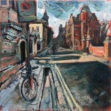 Susan Isaac - Outside Peterhouse with Pembroke College beyond Cambridge