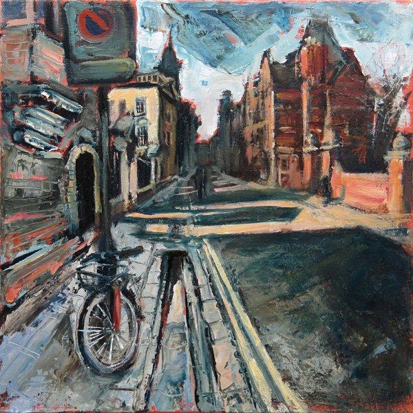 Susan Isaac - Outside Peterhouse with Pembroke College beyond Cambridge